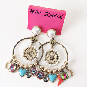 Betsey Johnson Big Hoop Pearl with Charms Earrings
